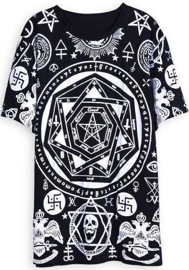 Black Short Sleeve Magic Print Loose T-Shirt