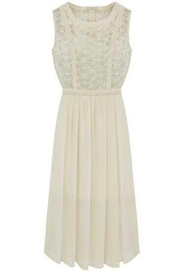 Ivory Sleeveless Lace Pleated Chiffon Long Dress