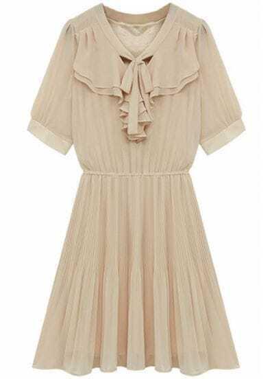 Apricot Short Sleeve Ruffles Pleated Chiffon Dress