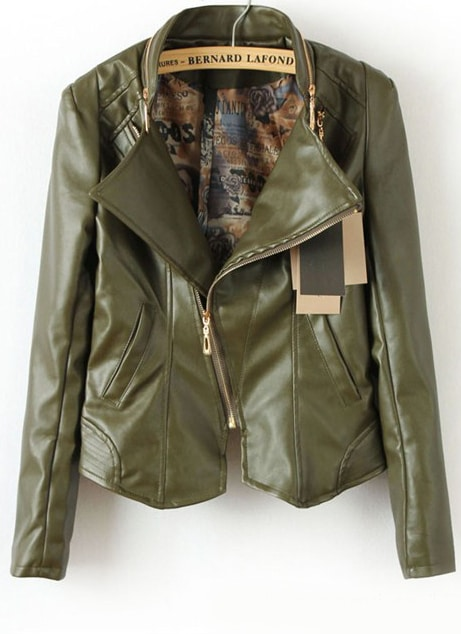Army Green Long Sleeve Zipper PU Leather Jacket -SheIn(Sheinside)