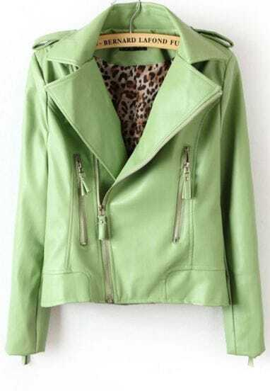 Green Long Sleeve Epaulet Zipper Pockets Leather Jacket