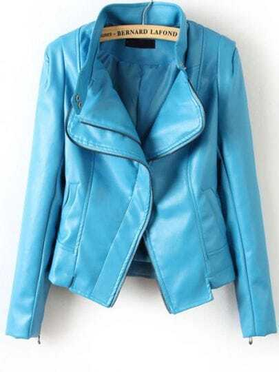Blue Long Sleeve Cuff Zipper PU Leather Jacket