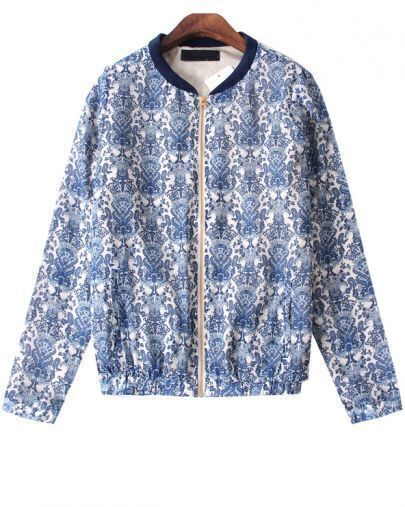 Blue Long Sleeve Porcelain Pattern Zipper Jacket
