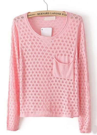 Pink Long Sleeve Hollow Pocket Pullover Sweater