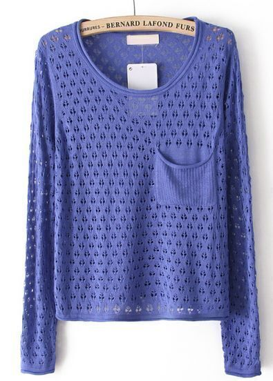 Blue Long Sleeve Hollow Pocket Pullover Sweater