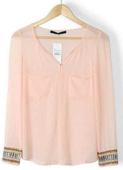 Pink Long Sleeve Rhinestone Pockets Blouse