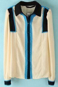 Apricot Long Sleeve Contrast Shoulder Blouse
