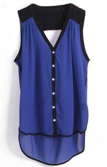 Blue V Neck Sleeveless Buttons Dipped Hem Blouse
