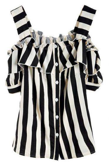 Black White Vertical Stripe Ruffles Chiffon Blouse