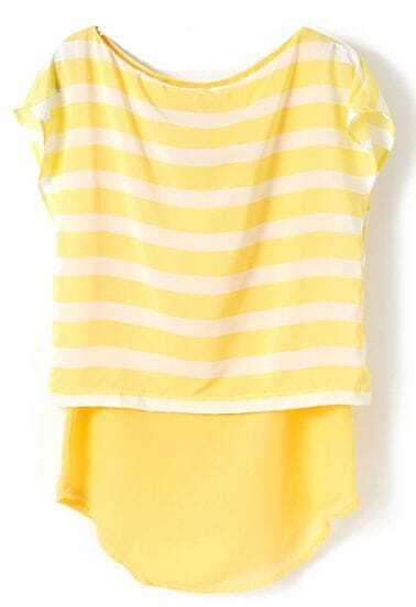Yellow Round Neck Short Sleeve Striped Blouse