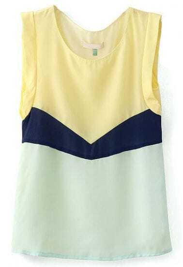 Yellow Navy White Sleeveless Loose Chiffon Blouse