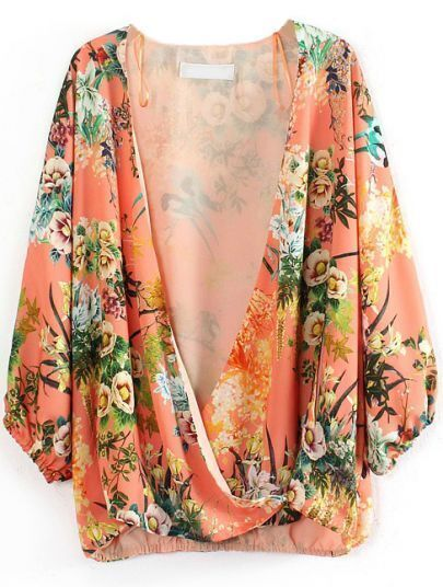 Orange Deep V NecK Long Sleeve Floral Loose Blouse