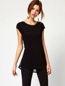 Black Short Sleeve Asymmetrical Ruffles Blouse
