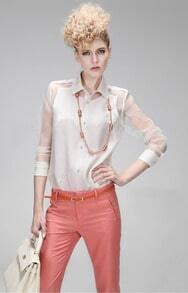 White Contrast Sheer Long Sleeve Punk Blouse