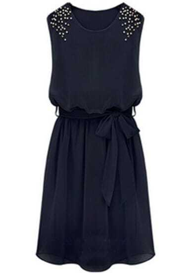 Black Sleeveless Bead Belt Chiffon Sundress