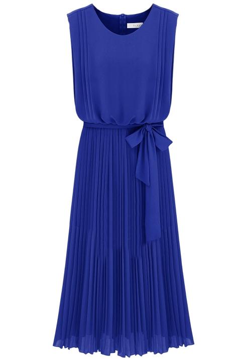 Blue Sleeveless Back Zipper Belt Pleated Dress -SheIn(Sheinside)