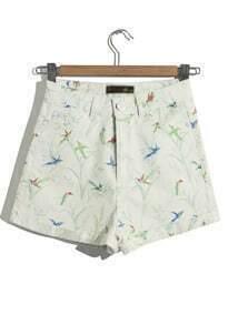 Apricot High Waist Birds Print Shorts