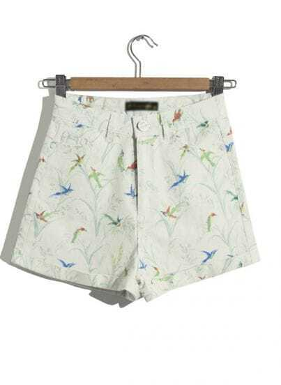 Apricot High Waist Birds Print Shorts