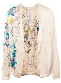 Apricot Long Sleeve Birds Floral Print Jacket