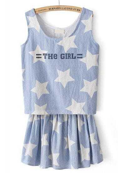 Blue Sleeveless Stars THE GIRL Print Denim Top With Skirt