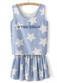 Blue Sleeveless Stars THE GIRL Print Denim Top With Skirt