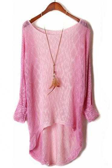 Pink Purple Gradient Long Sleeve Dipped Hem Sweater