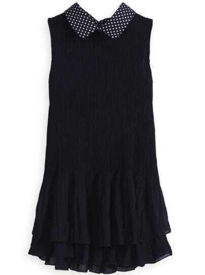 Black Polka Dot Lapel Cascading Ruffle Pleated Dress