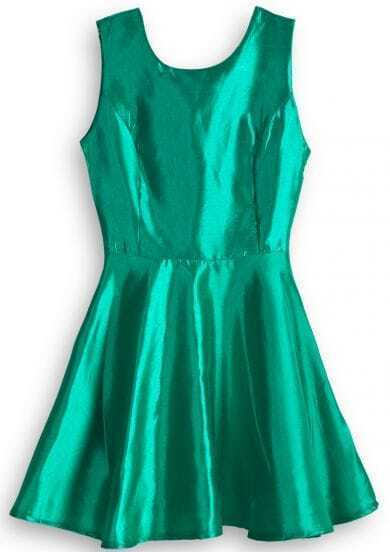 Green Sleeveless Slim Ruffles Flare Dress