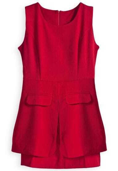 Red Sleeveless Back Zipper Pockets Peplum Dress