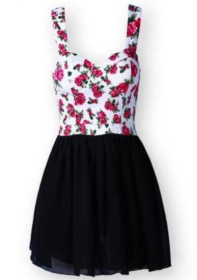 White Black Spaghetti Strap Floral Chiffon Dress
