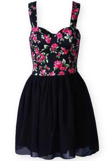 Black Spaghetti Strap Floral Chiffon Dress
