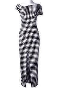 Black White Short Sleeve Plaid Split Dress