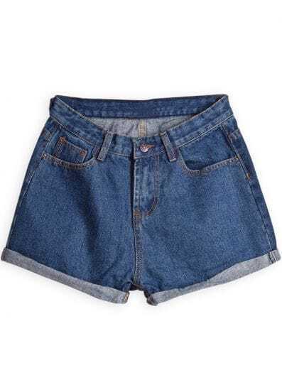 Blue Slim Pockets Flange Denim Shorts
