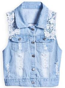 Blue Lapel Sleeveless Lace Ripped Denim Outerwear
