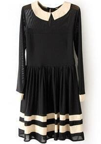 Black Long Sleeve Contrast Sheer Mesh Yoke Dress