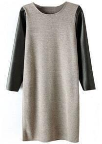 Grey Contrast PU Leather Sleeve Dress