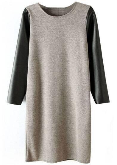 Grey Contrast PU Leather Sleeve Dress