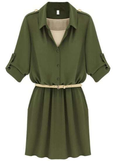Army Green Lapel Belt Bandeau Chiffon Dress