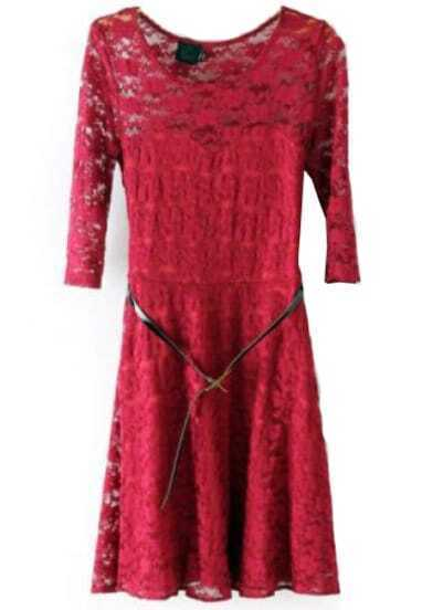 Red Half Sleeve Belt Lace Skater Dress
