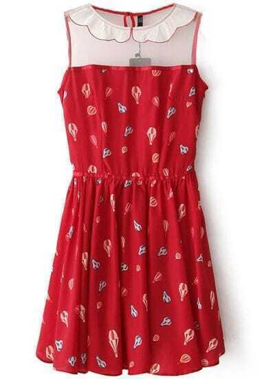 Red Sleeveless Balloon Print Pleated Dress