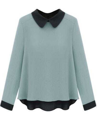 Vintage Color Matching Long-sleeved Chiffon Shirt Blue