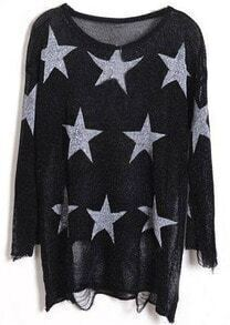 Black Star Print Long Sleeve Ripped Distressed Jumper