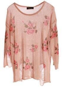 Pink Rose Flowers Print Ripped Distressed Long Sleeve Jumper