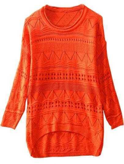 Orange Long Sleeve Geometric Eyelet Embellished Knit Jumper Sweater