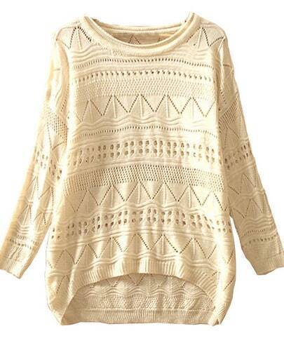Beige Geometric Eyelet Embellished Knit Jumper Sweater pictures