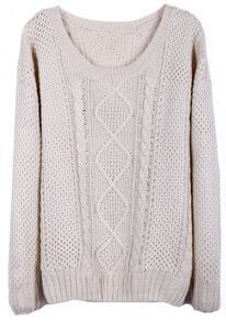 Beige Round Neck Broken Stripe Cable Sweater
