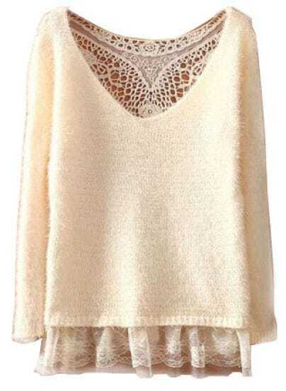 Beige Round Neck Long Sleeve Lace Hollow Sweater