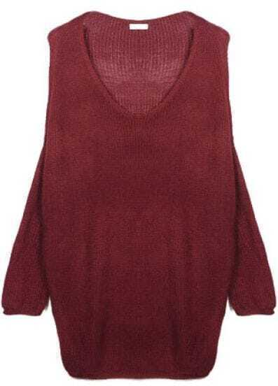 Red V Neck Batwing Long Sleeve Pullovers Sweater