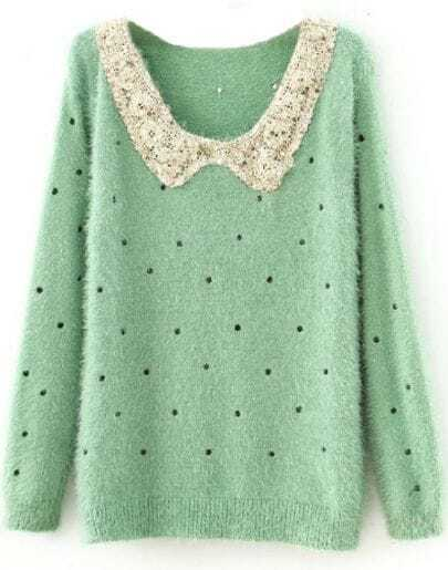 Green Polka Dot Sequins Collar Fluffy Jumper Sweater