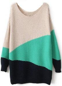 Green Black Beige Long Sleeve Geometric Asymmetrical Sweater